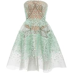 Zac Posen     Strapless Shell Embroidery Cocktail Dress ($6,990) ❤ liked on Polyvore featuring dresses, green, strapless dresses, beaded dress, green a line dress, strapless cocktail dresses and a line cocktail dress