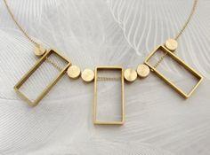 Art Deco Statement necklace geometric by SoraDesignsBlack on Etsy
