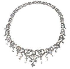 French diamond necklace, c. 1870.