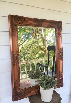 Bathroom Mirror Custom Painted Aged Copper Bronze Baroque Wall Mirror Perfect way to bring light and beauty to a room. These vintage style mirrors are perfect for shabby chic nurseries, bathrooms and