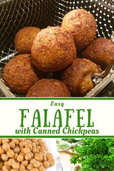 This easy vegan falafel recipe is made in the food processor and then baked. This delicious falafel is perfect for lunch with hummus and vegetables. Easy Falafel Recipe Using Canned Chickpeas, Healthy Falafel Recipe, Chickpea Recipes, Veggie Recipes, Vegetarian Recipes, Cooking Recipes, Healthy Snacks, Healthy Recipes, Vegans