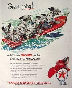 dalmatian and water  | 1954 Texaco Gasoline Ad ~ Dalmatian Puppies on Water-Ski, Vintage Gas ...