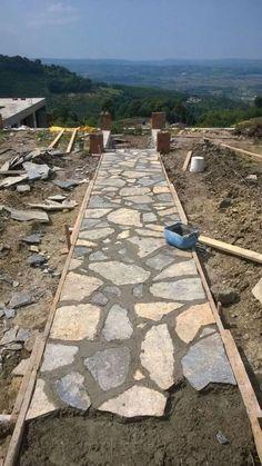 Backyard Walkway, Backyard Patio Designs, Front Yard Landscaping, Landscaping Ideas, Backyard Ideas, Stone Backyard, Wood Walkway, Outdoor Walkway, Stone Landscaping