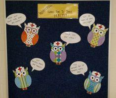 Owl bulletin board in my brand new school nurse office! Nurse Office Decor, School Nurse Office, Nurse Decor, School Nursing, Health Bulletin Boards, Nurse Bulletin Board, Teacher Bulletin Boards, Nursing Board, Nursing Tips