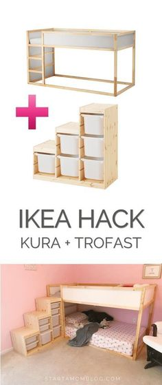 Ikea Hack for a Toddler Bunk bed - KURA plus TROFAST - super cool idea! Saving this for my kids room! #kidsbedroomfurniture