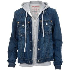 True Religion Denim Jacket Jimmy Thunder ($370) ❤ liked on Polyvore featuring outerwear, jackets, tops, men, denim jacket, flap jacket, zipper jean jacket, blue jackets and blue jean jacket