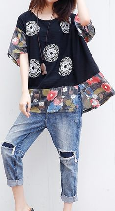 UP TO 48% OFF! Folk Style Print Patchwork Bat Sleeve O-neck T-shirt For Women. SHOP NOW!