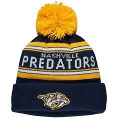 new arrival 878f4 0ce53 Youth Nashville Predators Navy Wordmark Cuffed Knit Hat with Pom,  17.99  Predator, Caps Hats