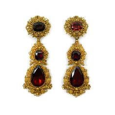 Pair of 19th century garnet and gold cannetille drop earrings, English c.1835