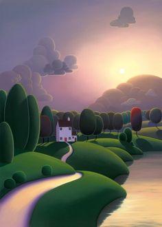 Forest Illustration, Landscape Illustration, Watercolor Landscape, Landscape Art, Riverside Cottage, Arte Lowbrow, Art For Art Sake, Naive Art, Environmental Art