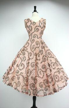 Vintage 1950's  black swirl print dress