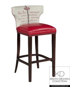 Kathryn Bar/Counter Stool  It is a modern take on a Greek Klismos chair, which is personal favorite. I have it shown in the French print linen. You have your choice of three different French Emblems and 5 colors. Charcoal, Black, Scarlet, Chocolate, Sienna, and Blue.