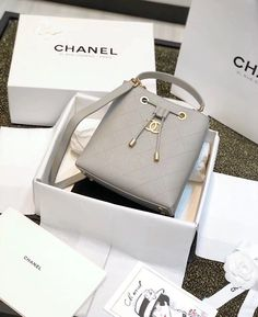 380727310930 Chanel Grained Calfskin Drawstring Bag AS0310 Grey