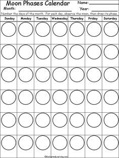 Phases Of the Moon Printable Worksheets