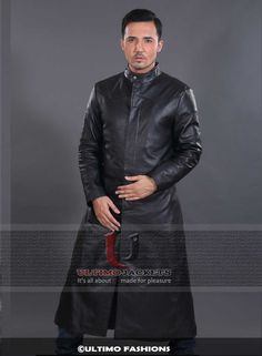 Star Trek into Darkness Stylish Leather Jacket Trench Coat   Jacket Features:   Outfit type: Genuine Leather Jacket Gender: Male Color: Black Front: Front ButtonClosure Collar: Shirt Style Collar Lining: Viscose Lining Cuffs:Open Hem Cuffs Pockets: Two side pock
