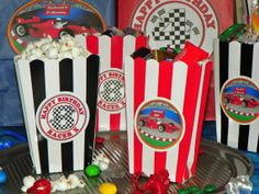 Kids Race Car Themed Party Mini Popcorn Boxes. by ReadySetCreate, $13.00