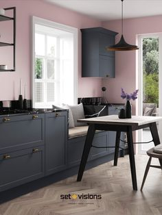 Short on space? Why not create bespoke seating within your kitchen design. Utilising the same kitchen doors unifies the interior design scheme. Here we mixed blush pink walls with the on-trend navy blue kitchen doors.