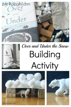 Winter book STEM activity for preschool. Use the book Over and Under to explore … Winter book STEM activity for preschool. Use the book Over and Under to explore prepositions with a fun arctic, winter theme twist! Snow Activities, Kindergarten Activities, Preschool Crafts, Science Crafts, Preschool Music, Preschool Learning, Winter Girl, Winter Fun, Winter Snow