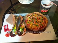 Coolest Taco Bell Cake – with a DP, Please Funeral Cake, Cool Birthday Cakes, Cake Gallery, Cupcake Cakes, Cupcakes, Yummy Cakes, Amazing Cakes, Vegetable Pizza, Quiche