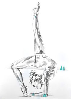 Temple of the Sun | Strong yoga backbend drawing in pencil with inner peace | by Hannah Adamaszek online shop and gallery