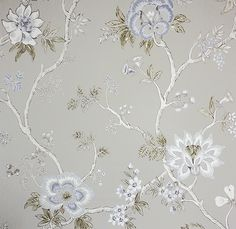 Indienne Wallpaper A wide width floral wallpaper based on 18th century Southern Indian chintz designs, printed in blue, cream and taupe on a beige background.