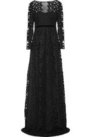 Embroidered cotton-blend tulle gown
