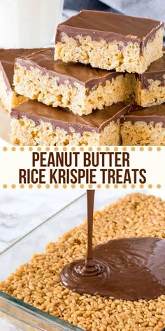 Peanut Butter Rice Krispie Treats are gooey. Peanut Butter Rice Krispie Treats are gooey chewy and perfect twist on the classic Rice Krispies. Made with marshmallows peanut butter and a thick layer of chocolate on top! Peanut Butter Rice Krispies, Peanut Butter Granola, Marshmallow Peanut Butter Squares, Chocolate Peanut Butter Squares, Chocolate Rice Crispy Treats, Rice Krispie Cakes, Peanut Butter Cookie Bars, Mini Desserts, Easy Desserts