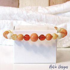 orange bead bracelet handmade memory wire jewelry striped beads Memory Wire Jewelry, Wooden Jewelry, Diy Bracelet Storage, Handmade Bracelets, Beaded Bracelets, Jewelry Rack, Orange You Glad, Chalkboard Art, Something Beautiful