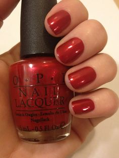 I rarely flip for whole collections, but I want every last hue in OPi's new Germany Collection (this elegant hue is called Danke-Shiny Red). #nails #nail #polish #manicure