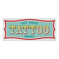 Tattoo Booth Sign for Carnival Themed Birthday BL Posters