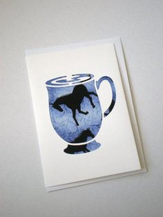 Horse Card  Horse Fabric in Coffee Cup cutout. One by VinoCatz, $2.00