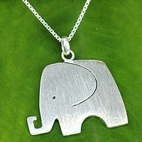 Novica Sterling silver pendant necklace, Elephant Arabesque