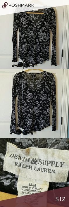 Denim & Supply Ralph Lauren Henley EUC Cute, semi-sheer henley top.  Has scooped neck.  Buttons partially down front.  Only worn a few times.  No flaws. Denim & Supply Ralph Lauren Tops Tees - Long Sleeve