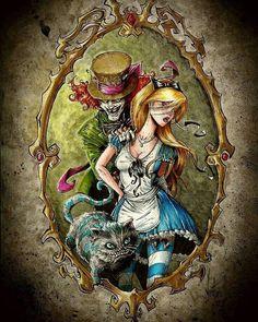 Cats Drawing Tattoo Alice In Wonderland Ideas Dark Alice In Wonderland, Alice In Wonderland Drawings, Princesas Disney Zombie, Zombie Disney, Disney Horror, Urbane Kunst, Alice Madness, Arte Horror, Gothic Art