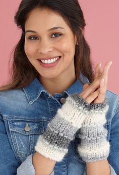 Knit snow day mitts. Lion brand yarn Da Vinci.