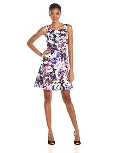 Jessica Simpson Womens Sleeveless Floral Fit and Flare Dress Print 10 *** Want to know more, click on the image.