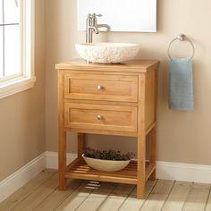 Narrow Torrance Bamboo Vessel Sink Console Vanity Bathroom - Bathroom vanities torrance