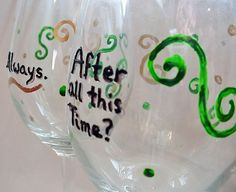 """Harry Potter 'Always"""" Quote Hand Painted Glasses, wine glass set. $17.00, via Etsy."""