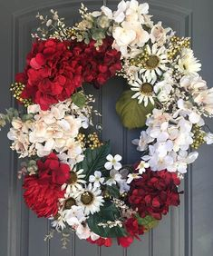 Elegant Red Hydrangea & Blush silk flowers, apple blossoms and daisies. This is a large oval wreath - 28 x 22. Custom Orders must be noted in a personal note, conversation with me. Please note: Although I take great pride in my work - there are occasions when someone feels the