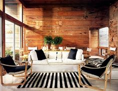 """Bates Masi + Architects' Fire Island """"Tree House"""" home is made from roughly cut cypress boards. Knotty Pine Decor, Knotty Pine Walls, Black Interior Design, Rough Wood, Rough Cut, Tree House Designs, Wood Interiors, Wooden Walls, Rustic Walls"""