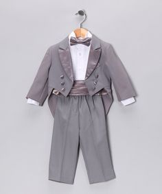 OUTFIT FOR CHOMPERS MCRINGBEARER!  ;)  Gray Five-Piece Tuxedo Set - Infant, Toddler & Boys | Daily deals for moms, babies and kids
