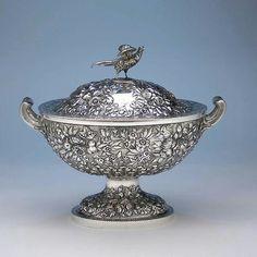 S. Kirk & Son Repoussé 11oz Silver Covered Soup Tureen, c. 1870-80.