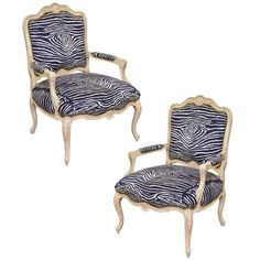 Zebra Chairs Pair of Louis XV Style Fauteuils | From a unique collection of antique and modern armchairs at https://www.1stdibs.com/furniture/seating/armchairs/