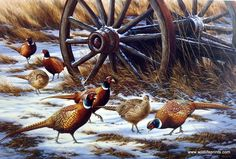 A large group of pheasants are working their way in the fields around an old wagon wheel, trying to search for a bite to eat. This print is signed and numbered and is available unframed in an image si