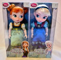 Rare Disney Store exclusive Anna & Elsa Frozen Toddler Dolls New In Box! Disney Toddler Dolls, Disney Princess Dolls, Disney Dolls, Disney Princesses, Anna E Elsa, Frozen Elsa And Anna, Disney Frozen Elsa, Baby Alive Doll Clothes, Baby Alive Dolls