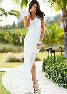 White open slit maxi dress