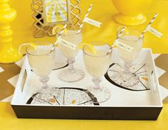 "MADHOUSE ""Lemonwood"" Inspired Tablescape {+ Champagne Lemonade Recipe & Free Printables} - Hostess with the Mostess®"