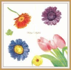 PAPER napkins for DECOUPAGE - Spring Flowers Tullips Gerbera #361 by VintageNapkins on Etsy