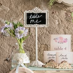 Incorporating different types of signage into your wedding decor adds a nice personal touch. These Tabletop Antique White Blackboard Stand are perfect as table numbers, or set them out at your candy bar to display the names of the sweet treats. Vintage Wedding Theme, Wedding Themes, Wedding Signs, Diy Wedding, Wedding Decorations, Wedding Ideas, Wedding Receptions, Vintage Weddings, Wedding Catering