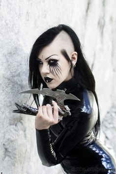 #Vampirefreaks #Goth girl model Necrinity in a dangerously sexy latex assassins outfit.